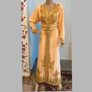 Dresses & Skirts - Peach takchita Dubai Kaftan Moroccan caftan Dress